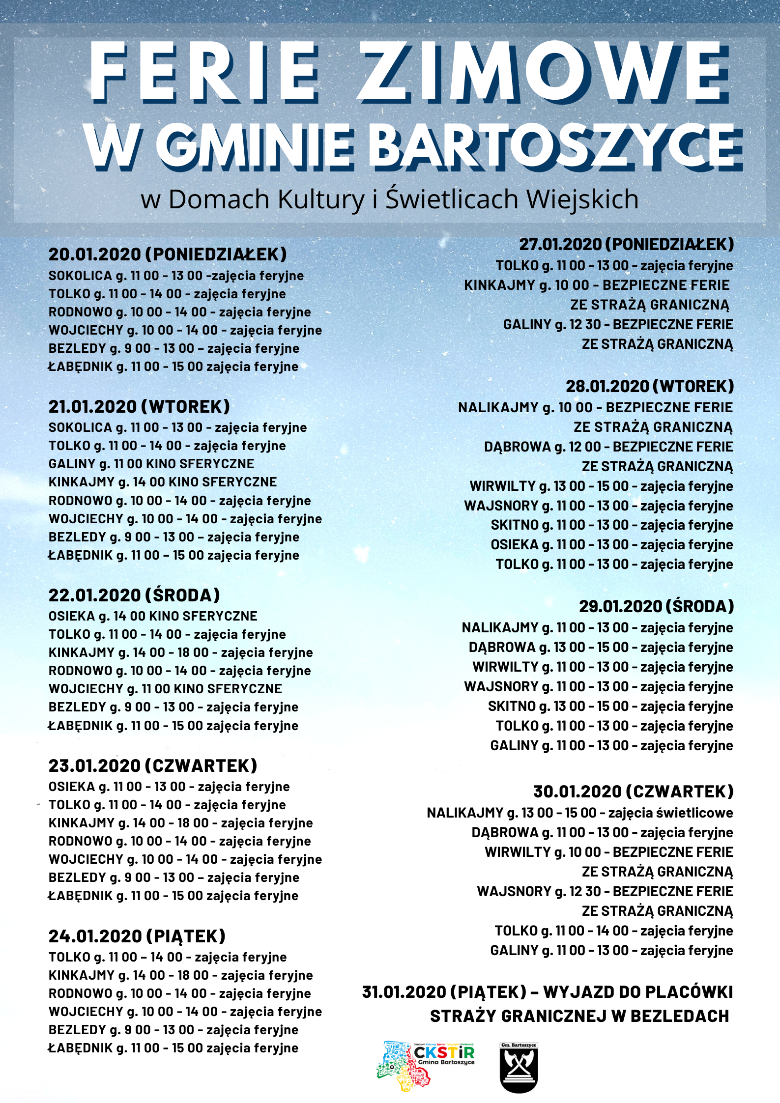 Ilustracja do informacji: Ferie zimowe w gminie Bartoszyce