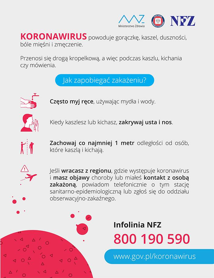 Ilustracja do informacji: Koronawirus informacje i zalecenia